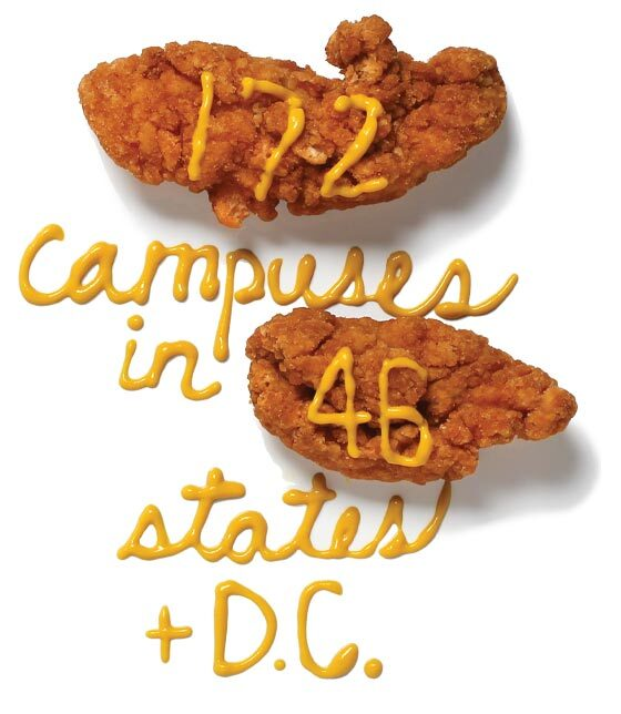 Chicken fingers that read, in mustard, 172 campuses in 46 states + D.C.