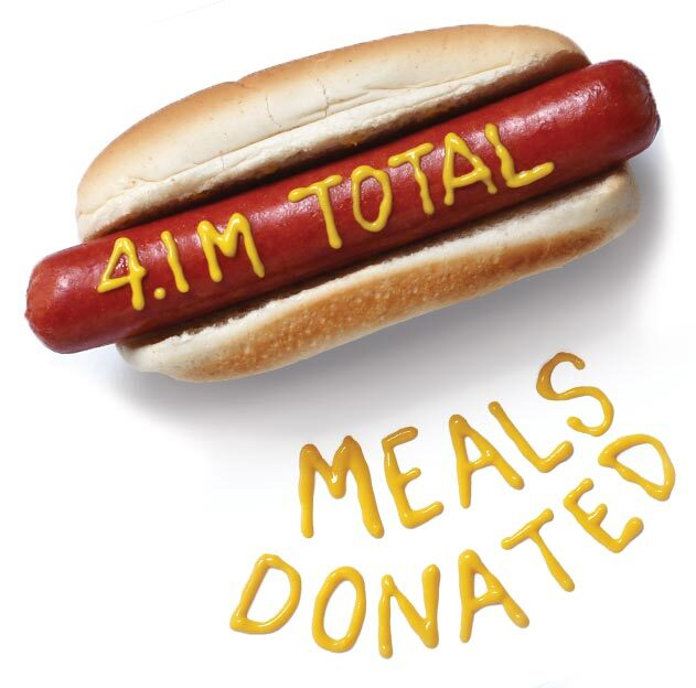 Hot dog that reads in mustard, 4.1M total meals donated